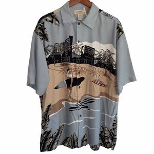 Natural issue vintage beach scene button front top